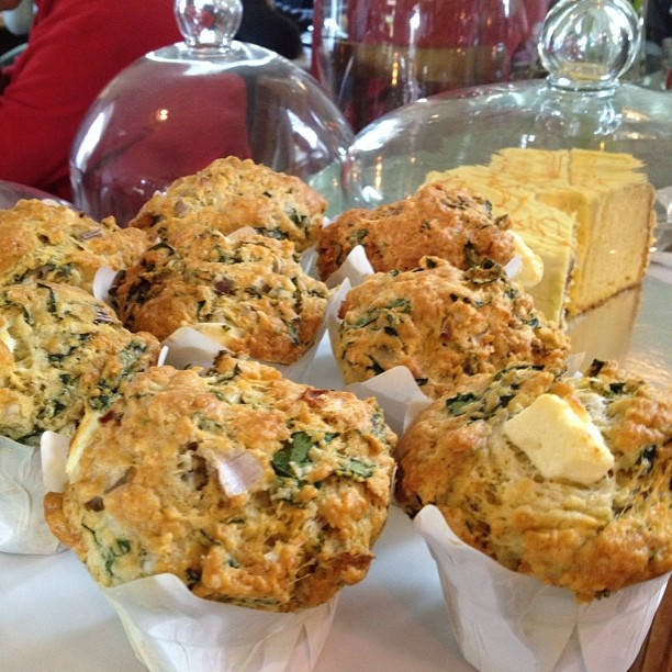 Fresh out the oven spinach and feta muffins. Waiting for home made tomato chili jam