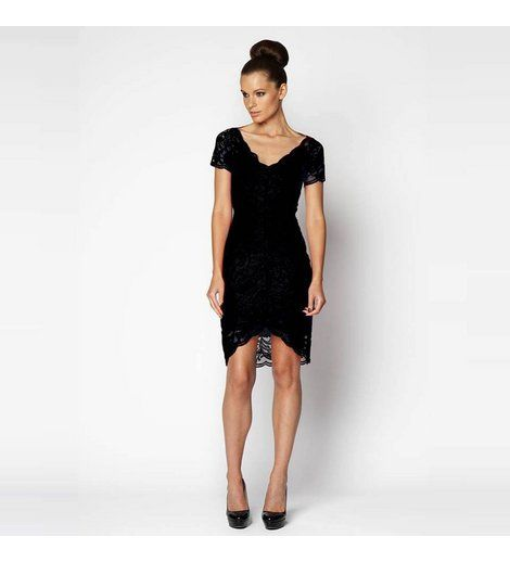 Very Very - Arabella Black Lace Dress  Fitted v-neck lace dress with short sleeve and hi-lo hem.    54% Nylon, 46% Rayon.    Made in Australia    BUY NOW