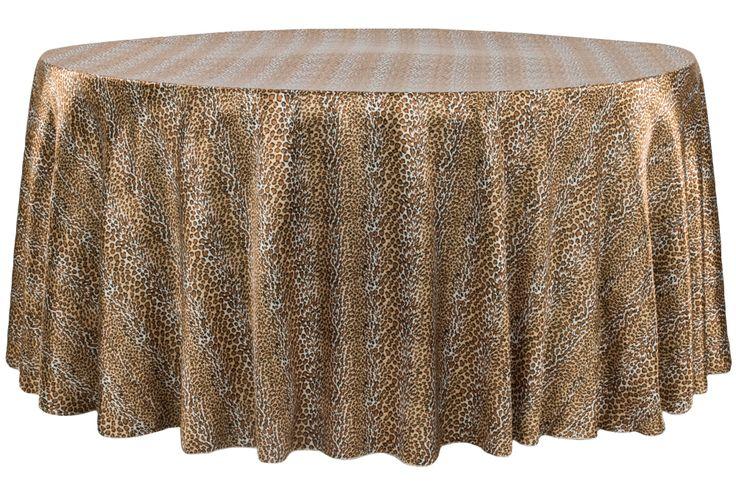 "Satin 120"" Round Tablecloth - Leopard Design"