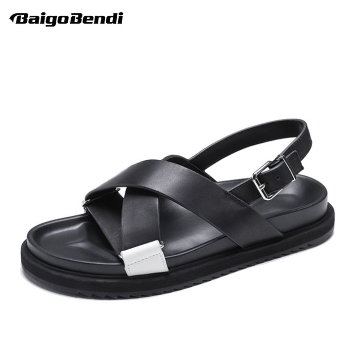 New Trendy Summer Men Gladiator Sandals Black Cross-tied Buckle Strap Casual Beach Shoes Man Thick Heel Sandals