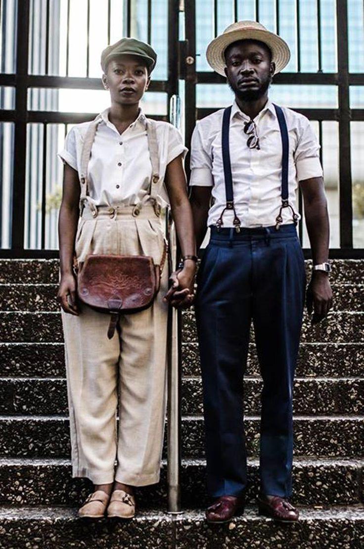 Khumbula fashionistas by Andile Biyana, Bafana Mthembu aka The Queen of Spades, David Maledimo, and photographer Harness Hamese with Loux The Vintage Guru. South African Fashion.