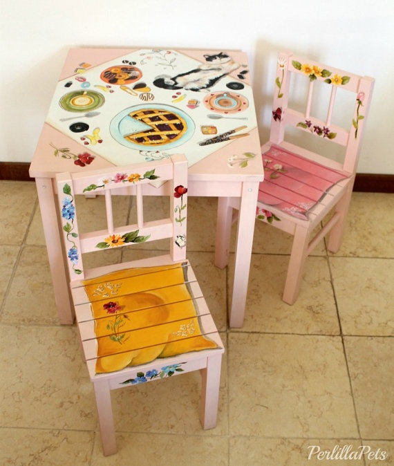 Table And Chairs Hand Painted For Children Room Painted