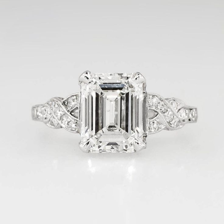 Sensational 1930's Art Deco 2.90ct t.w. Emerald Cut Diamond Filigree Engagement Wedding Ring Platinum