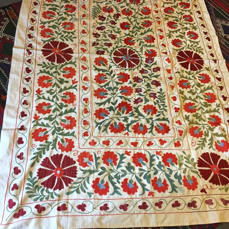 "HANDMADE SUZANI THROW / BED COVER 59""x79"" ( 150cm x 200 cm )"