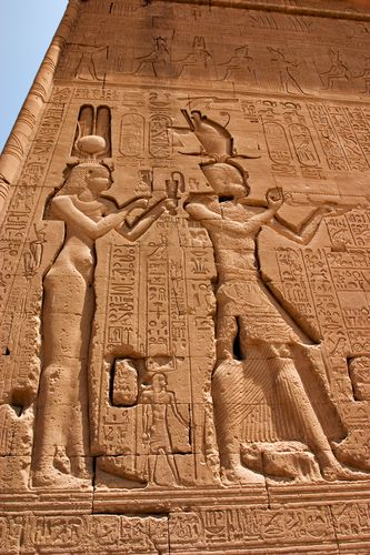 Reliefs of Cleopatra VII and her son by Julius Caesar, Caesarion at the Dendera Temple.