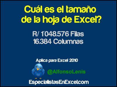http://especialistasenexcel.com/ Cuál es el tamaño de la hoja de la hoja de Excel