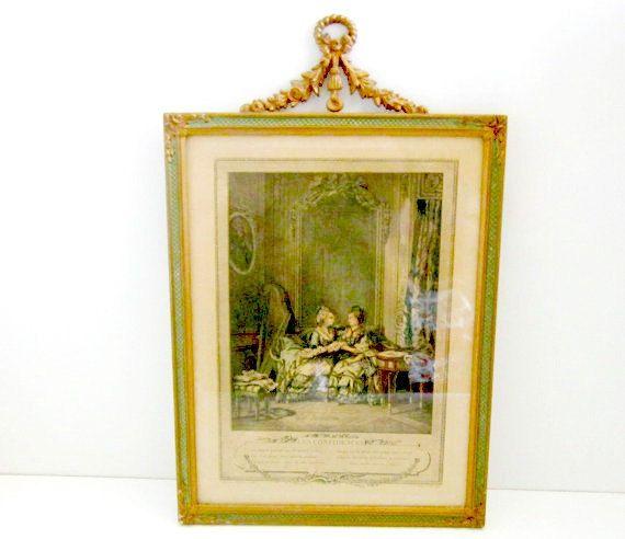 Antique Picture Etching  Les Confidences by nanascottagehouse, $275.00