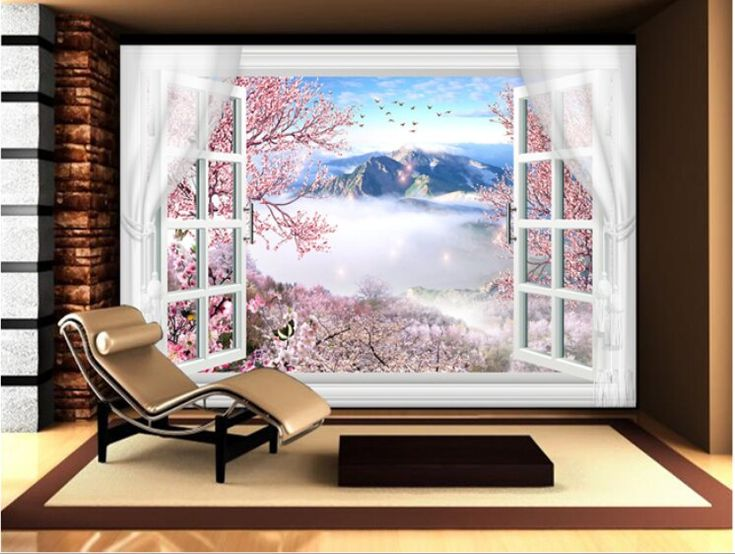 3D damask peach flowers in the blank window with s…