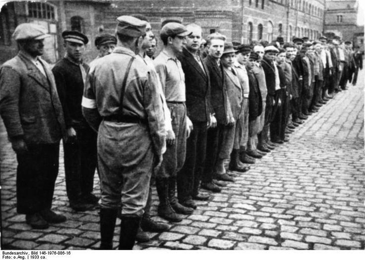 Prisoners line up for roll call at the Oranienburg concentration camp, 1933. Oranienburg was one of the earliest camps; it held the Nazis' political opponents from the Berlin region, mostly members of the Communist Party and social-democrats, as well as a number of homosexual men. The camp  was closed in 1934 and subsequently replaced in the area by Sachsenhausen concentration camp in 1936.