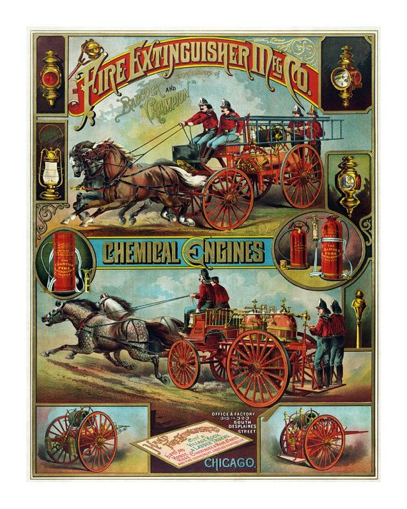 1890 Fire Fighting Supply Ad - Vintage Art Print - Antique Advertising Sign  - Old Maps and Prints - Firefighter Decor - Firefighter Gift