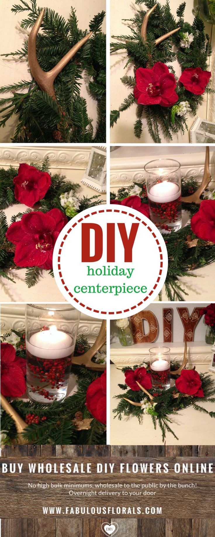 DIY Holiday antler Centerpiece 2017 Christmas flower trends! www.fabulousflorals.com The #1 source for wholesale flowers! #holidayflowers #diyflowers #diychristmas #antlers  #christmas