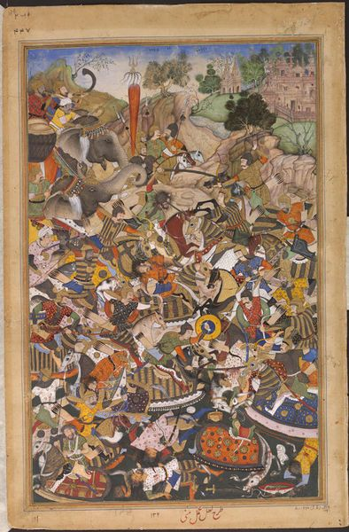 Akbarnama the Battle of Patan and the victory of the Mughal army led by Qutb ad-Din Khan and Azim Khan over the rebels Muhammad Husain Mirza and Sher Khan Fuladi at Gujarat, north-west India, in 1572. by La'l & Mani ca. 1586 - ca. 1589 V&A
