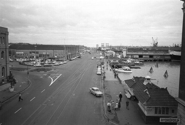 Auckland Waterfront 1968, showing the railway lines going down Quay Street.