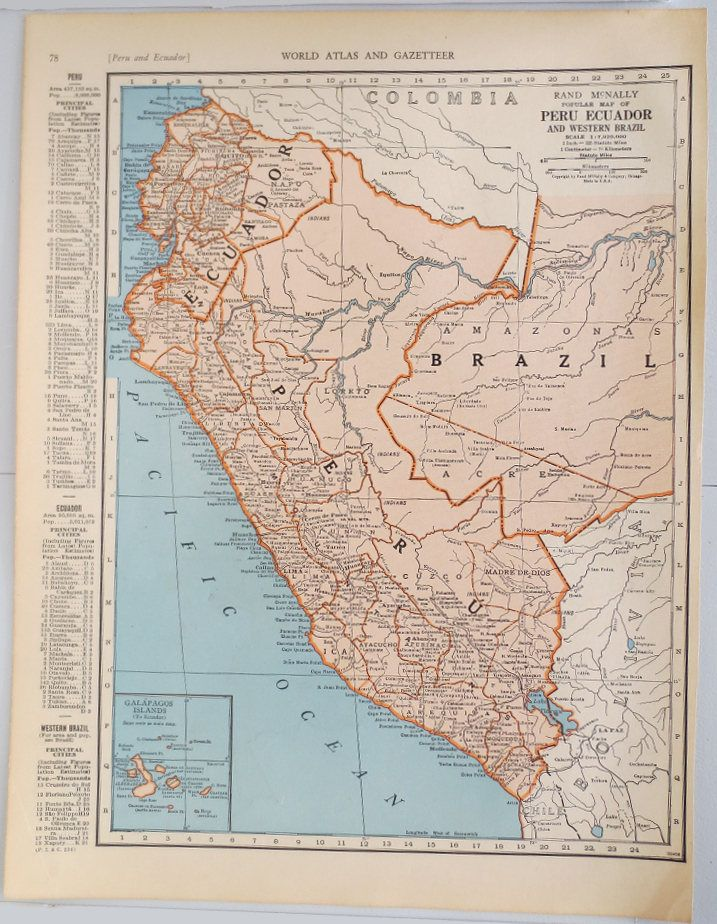 50 best vintage maps images on pinterest classroom dcor vintage map of peru and ecuador vintage map of columbia on reverse side classroom gumiabroncs Gallery