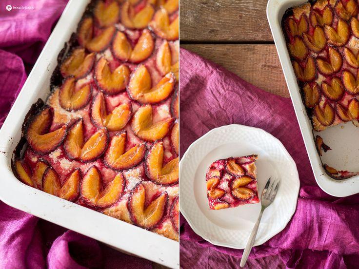 Kreativfieber Sonntagskuchen: Pflaumenkuchen mit Quark Öl Teig - schmeckt perfekt noch warm mit einer Kugel Eis oder einer großen Portion Sahne.