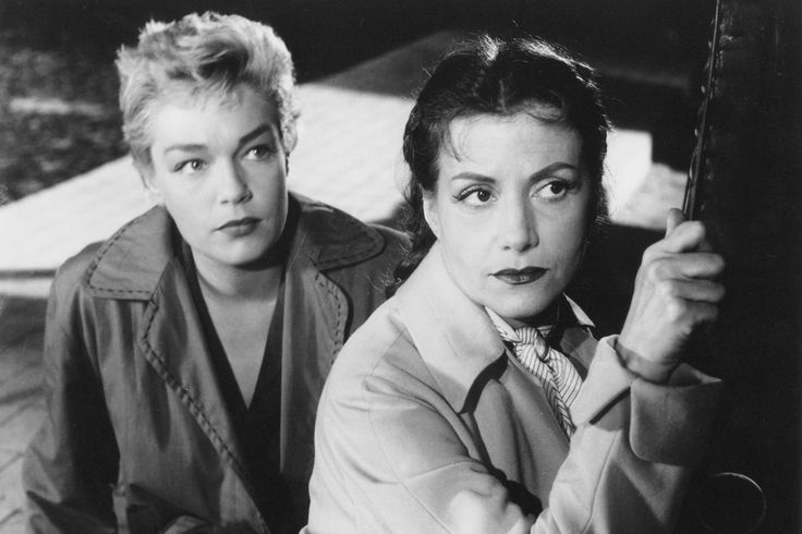 great French horror movie ''Les Diaboliques ..with left Simone Signoret, and right Vera Cluzot most likely it has English subtitles but it's a spine chiller of the 1950's and it would translate into ''the Devilish or the Evil '' and things go a bit wrong for these ladies who plan to get rid of a disgusiting man..so really keeps you guessing