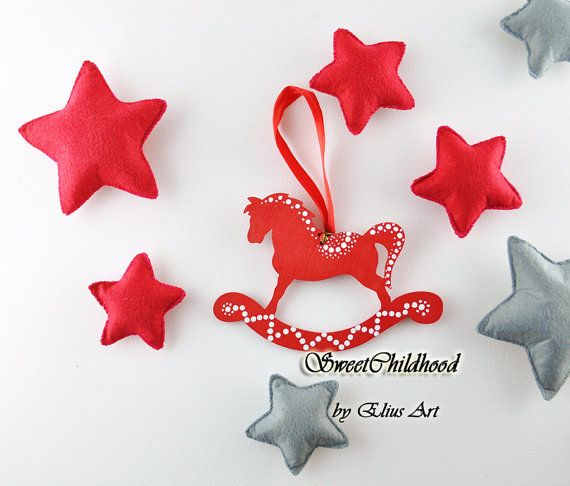 SET 4 Wooden rocking horse ornament christmas by SweetChildhood
