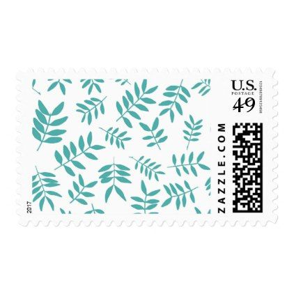 Turkuoise twig pattern. Herbal decorative elements Postage - pattern sample design template diy cyo customize