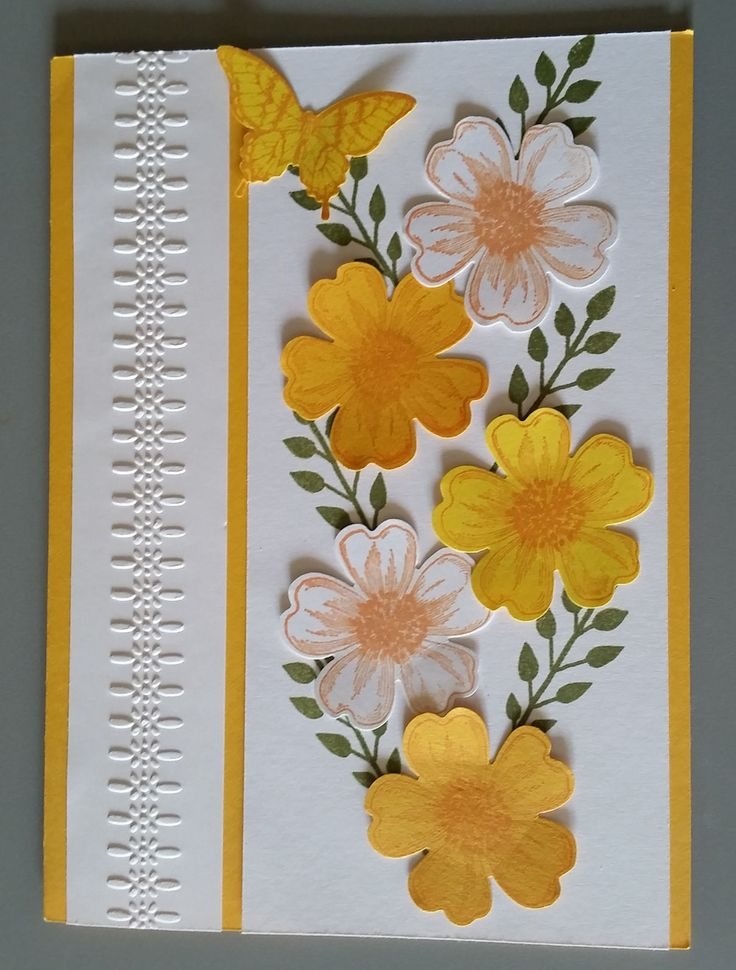 Birthday Card - Designed by Sandy using Stampin Up Flower Shop and Flower Patch stamps sets, Punches and inks.