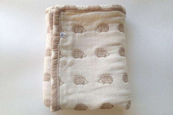 Hedgehogs blanket, brown soft blaket, baby blanket, gauze blanket, muslin blanket, stroller blanket for baby boy baby girl