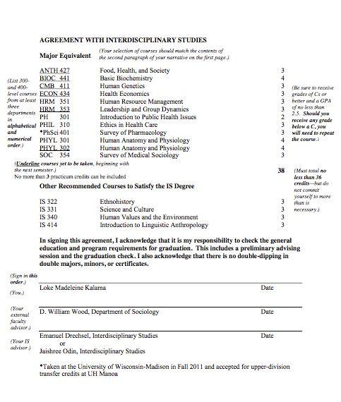 Interdisciplinary courses proposal example