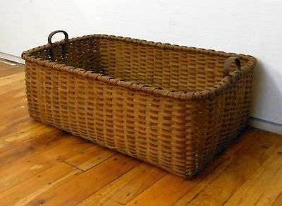 Large Early American Woven Splint Storage Basket C 1800's Two Handles Ash or Oak