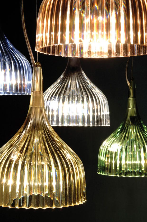 Kartell. The shades of these lamps have a structure that nicely spreads the light. Great design I think!