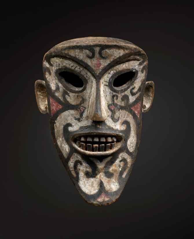 * Borneo Masterpiece Ritual Mask, Iban Dayak wood, pigment, 19th century