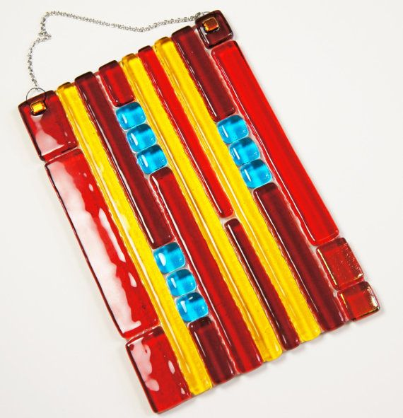 Red Yellow Turquoise Blue Fused Glass Suncatcher Home by ModMixArt