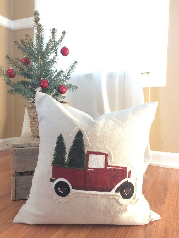 This beautiful handmade pillow cover displays a perfect handpainted vintage truck with Christmas Trees. The bright colors and colorful