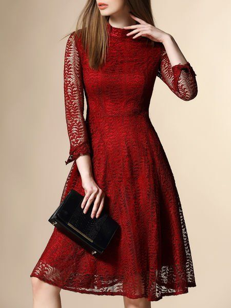 Lace Pierced Cotton-blend Midi Dress. Like the bold, vibrant color and exposed arms.