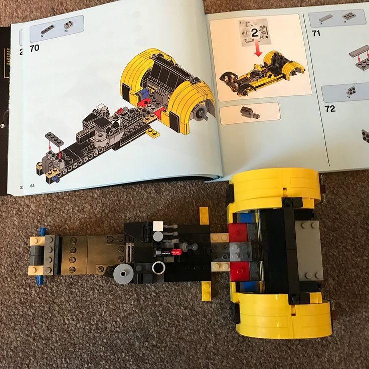 Stage one completed of the Caterham. #lego #legofun #legocaterham #legocaterhamseven620r #fun #project #yellow #amazing #bigkid