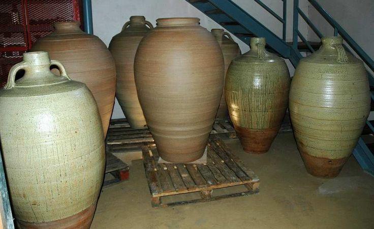 Large stoneware wine jars in situ