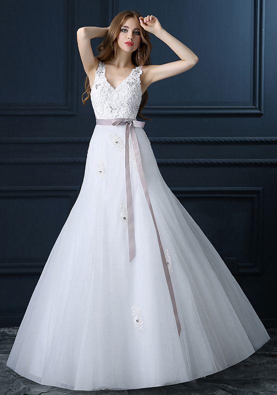 Robe de Soirée Pour Mariage-Belle A-ligne Col En V Robe De Mariage Appliques De…