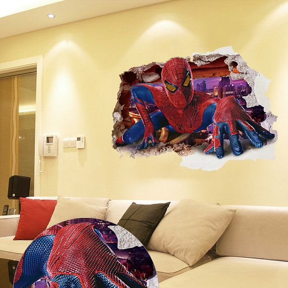 New Huge 3D Spiderman  Wall Decal Bedroom Stickers Decorations