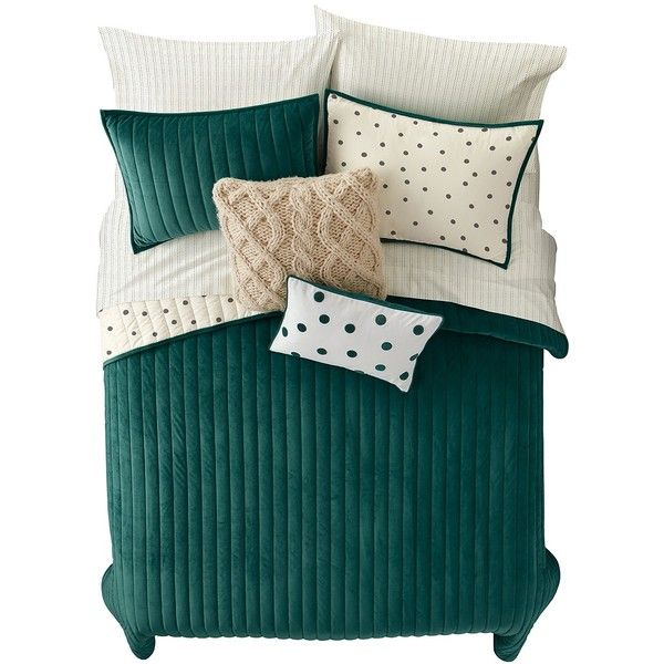Nordstrom Rack Reversible Luxe Dot King 3-Piece Quilt Set ($100) ❤ liked on Polyvore featuring home, bed & bath, bedding, quilts, ponderosa green, green polka dot bedding, nordstrom rack, twin bed linens, polka dot bedding and green pillow cases