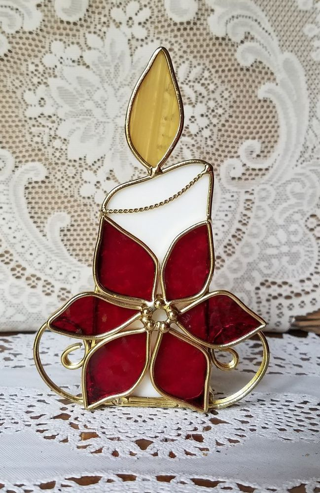 Stained Glass POINSETTIA Candle Holder