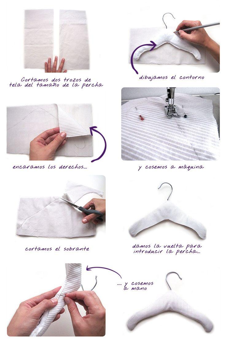 percha bebe DIY 3 Cómo forrar una percha de bebé   #DIY