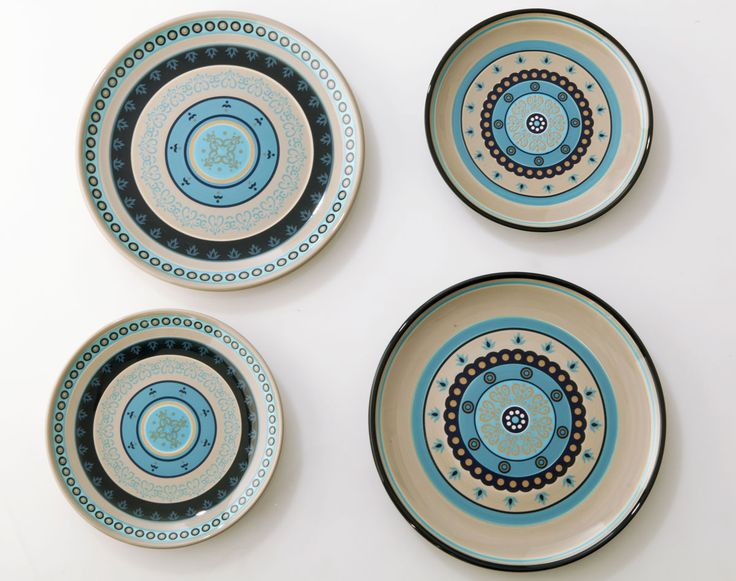 Assiettes motif mosaïque - Lot de 4