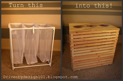 Idea for re-doing the laundry sorter.  Possibly make with bamboo to match the bathroom. Driven by Design 101: February 2012