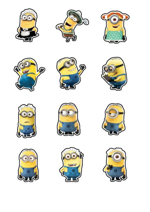 """Despicable Me Minions  Printable Party approx. 2"""" height Cutouts for Cupcakes, Favors, Toppers, Stickers, Decorations"""