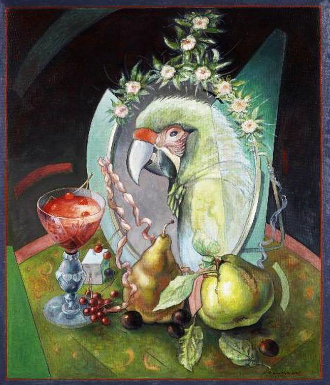 """Victor Shmokhin """"Натюрморт с умным попугаем"""" 1995г. Холст /масло.60.0х50.0. (2,283)."""