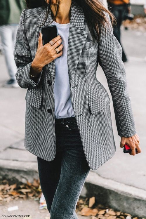 grey blazer and jeans