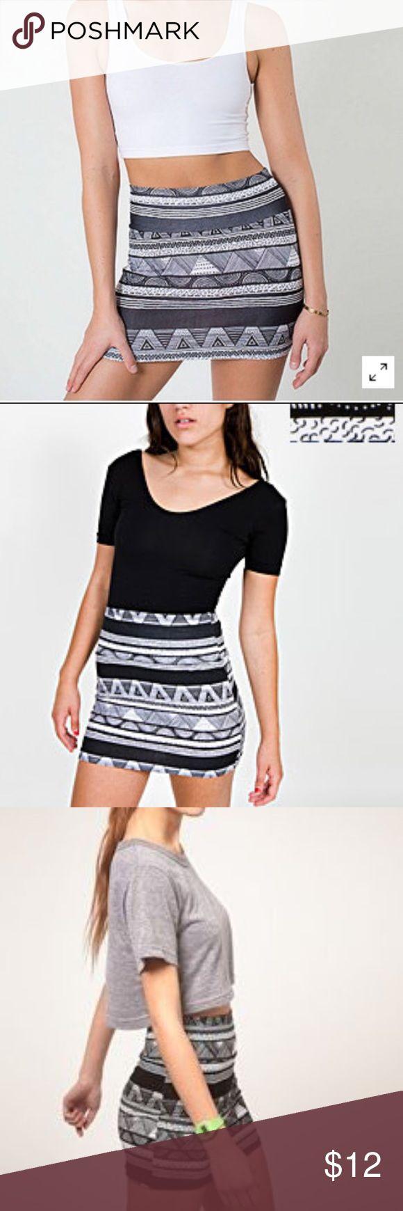 American Apparel Tribal Print Skirt Black and white tribal print American Apparel body-con mini skirt. American Apparel is now out of business. Size small. American Apparel Skirts Mini