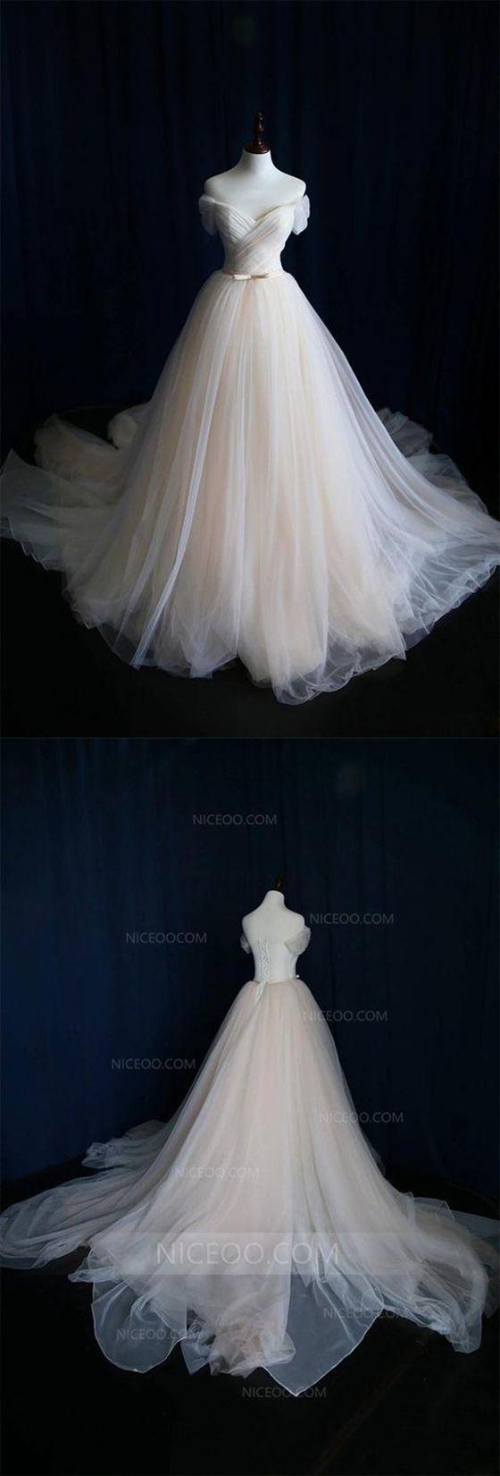A Line Off Shoulder V Neck Short Sleeves Wedding Dresses Best Bride Gown With Bow