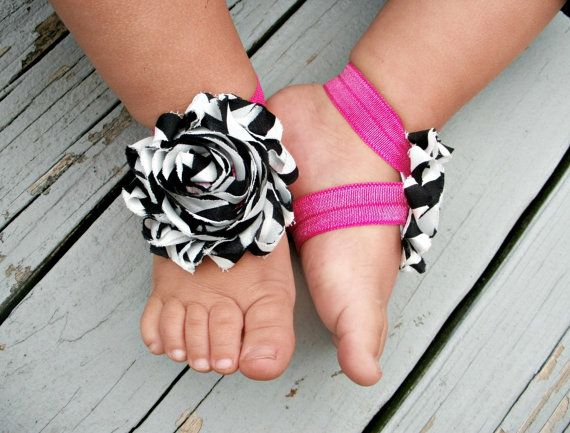 Baby or Toddler Barefoot Sandals .. Zebra and Hot Pink  Such a great idea! Naomi won't wear shoes so I may try making some of these.  Possible cute newborn baby gift for summer.