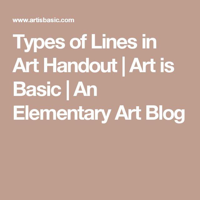 Types of Lines in Art Handout | Art is Basic | An Elementary Art Blog