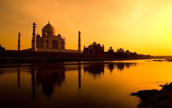 Taj Mahal Agra in sunset, India