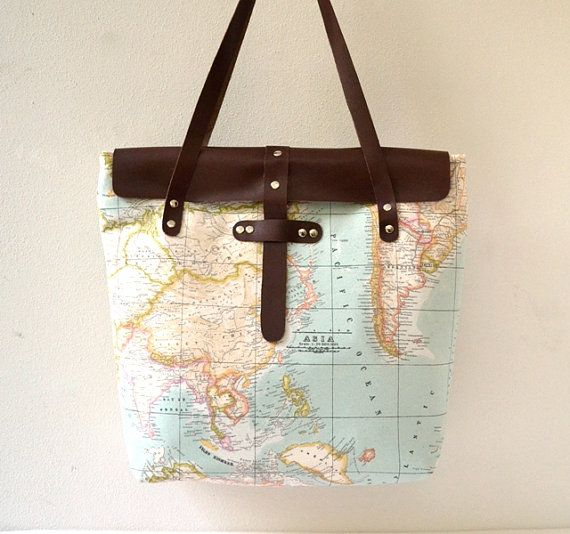 36 best world map bag collection by pagur design images on pinterest items similar to world map printed fabric tote bag daily weekly school bag diaper bag book or magazine tote bag natural colors on etsy gumiabroncs Images