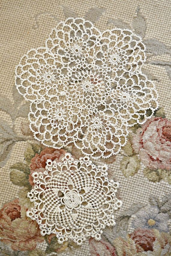 Beautiful Pair of Vintage Tatting Lace Doilies